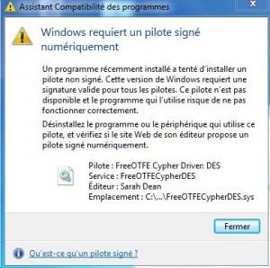 Problème install FreeOTFE Windows 7 Famille