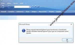 Message d erreur à l'ouverture de Money sur Windows 10