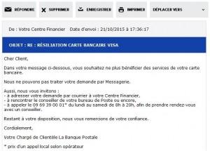 La Banque Postale : résiliation carte bancaire