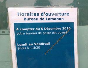 Horaire La Poste de Lamanon