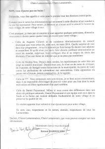 Lettre du maire sortant de Lamanon