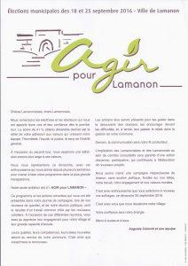 Flyer Agir pour Lamanon
