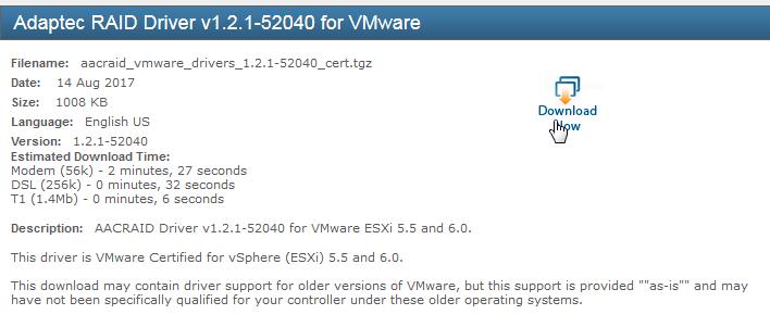 téléchargement du pilote Adaptec 6805 pour ESXi 6