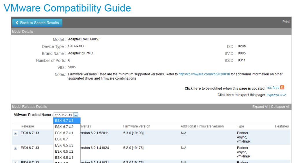 ESXi 7 pas compatible avec Adaptec 6805